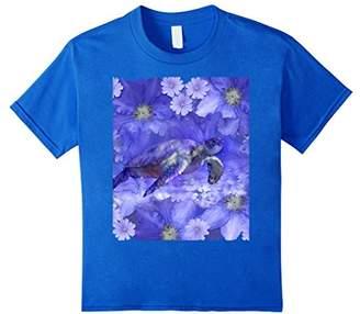 Blue flower tortoise in a blue flower sea T-shirt