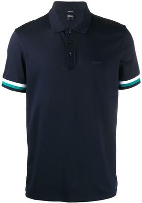 HUGO BOSS striped sleeves polo shirt