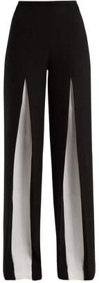 Roland Mouret Burton Inverted Pleat Wool Trouser - Womens - Black White