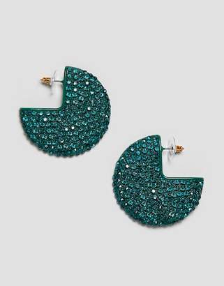 Asos DESIGN hoop earrings in color drench crystals