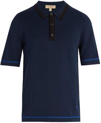 Burberry Contrast-knit cotton polo shirt