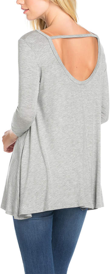 Heather Gray Cut-Out Back Swing Tunic - Women & Plus
