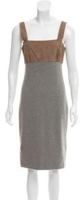Ralph Lauren Suede-Trimmed Cashmere Dress w/ Tags grey Suede-Trimmed Cashmere Dress w/ Tags