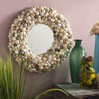 Safavieh Cordero 20 in. Round Shell Mirror, Natural Mix Shell