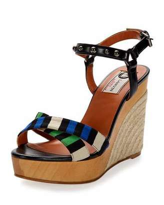 Lanvin Striped Espadrille Wedge Sandal, Electric Blue $685 thestylecure.com