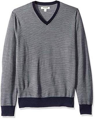 Goodthreads Men's Merino Wool V-Neck Micro Stripe Sweater