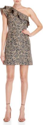 Monique Lhuillier Floral One-Shoulder Ruffle Dress