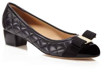 Salvatore Ferragamo Vara Quilted Leather Low Heel Pumps