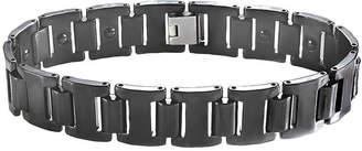 FINE JEWELRY Mens Stainless Steel & Black Ceramic Link Bracelet