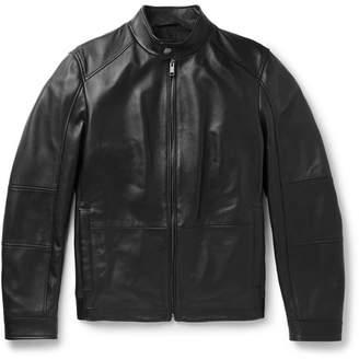 HUGO BOSS Leather Blouson Jacket - Black