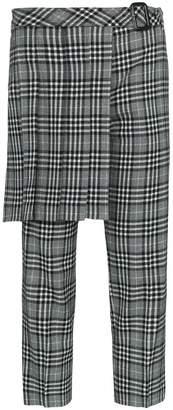 Juun.J Kilt-detail check wool-blend trousers