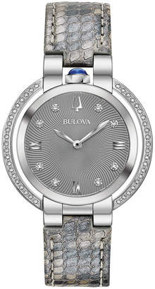 Bulova Women's Rubaiyat Diamond (1/4 ct. t.w.) Gray Leather Strap Watch 35mm