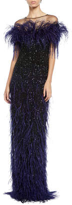 Pamella Roland Feather & Sequined Illusion Gown