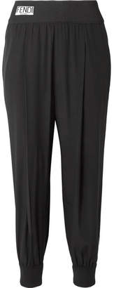 Striped Silk Crepe De Chine Track Pants - Black
