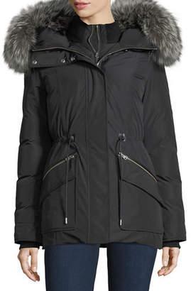 Mackage Katryn Hip-Length Down Jacket w/ Fur Trim