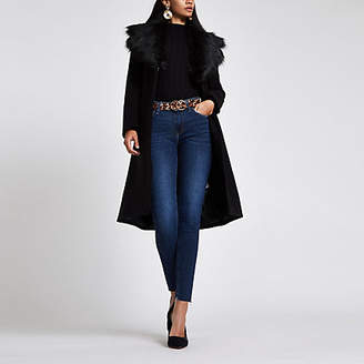 River Island Womens Black belted faux fur belted wool coat
