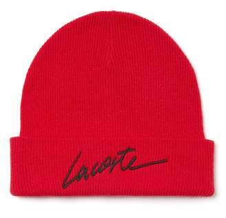 Lacoste Unisex LIVE Turned Edge Ribbed Wool Beanie