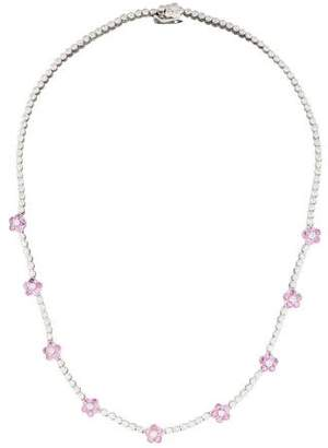 Pink Sapphire & Diamond Flower Station Necklace