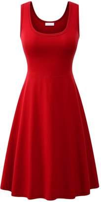 Amstt Women Casual Fla Tank Dress Summer Beach A Line Midi Dresses Sleeveless (L, )