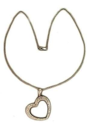 14K White Gold with 0.65ct 100 Diamond Open Heart Pendant Rope Chain Vintage Necklace