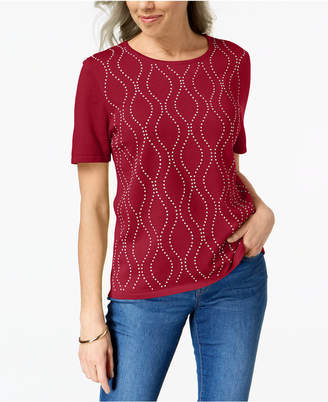 Alfred Dunner Petite Vertical Waves Embellished Sweater