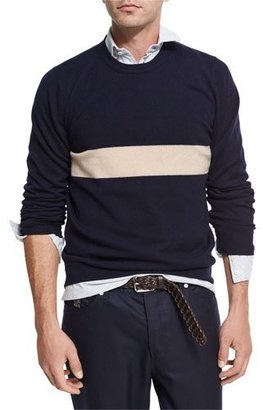Brunello Cucinelli Striped Cashmere Crewneck Sweater $1,175 thestylecure.com