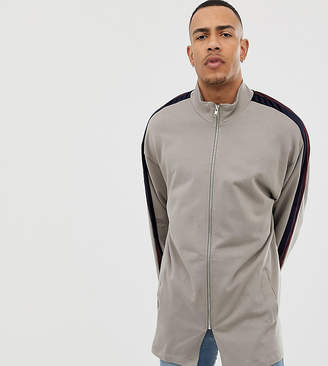 Asos DESIGN TALL Oversized Longline Track Jacket With Velour Stripe