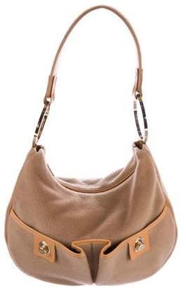 Tod's Leather-Trimmed Wool Shoulder Bag