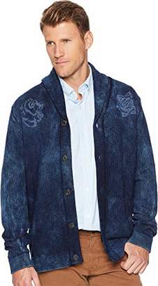Lucky Brand Men's Embroidered Patchwork Shawl Sweater