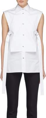 Helmut Lang D-ring tie side bib stripe sleeveless shirt