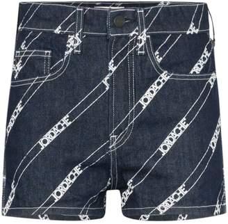 Jordache high rise logo-print denim shorts