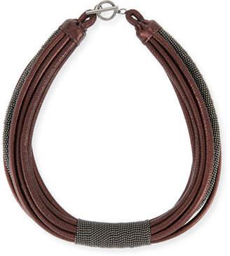 Brunello Cucinelli Monili Tube Leather Multi-Strap Choker