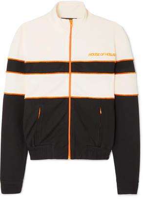 House of Holland Missy Velvet-trimmed Jersey Track Jacket - Black