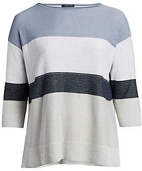 Lafayette 148 New York Lafayette 148 New York, Plus Size Women's Embellished Linen-Blend Colorblock Sweater