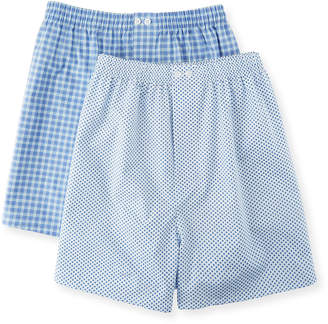 Neiman Marcus Men's Two-Pack Classic Boxers Set - Check & Dot
