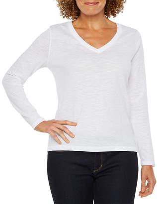A.N.A Long Sleeve Crew Neck T-Shirt-Womens Petite