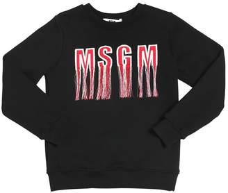 MSGM Fringed Logo Cotton Sweatshirt