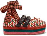 Miu Miu 绑带式编织皮革厚麻底鞋