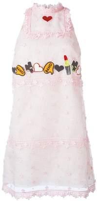 Giamba patch embellished lace dress