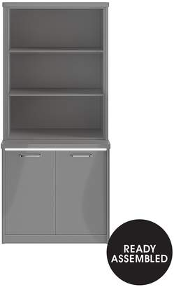 Consort Furniture Limited Indy Gloss Display Unit With LED Strip Lights - Grey