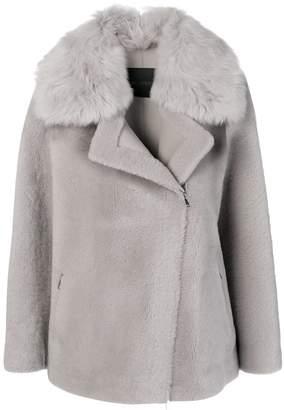 Blancha fur trimmed biker coat