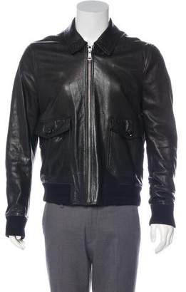 Burberry Exploded Check-Lined Lambskin Leather Jacket