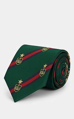 Gucci Men's Satin-Striped Silk-Blend Faille Necktie - Green