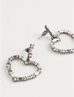 George Black Heart Diamante Encrusted Drop Earrings