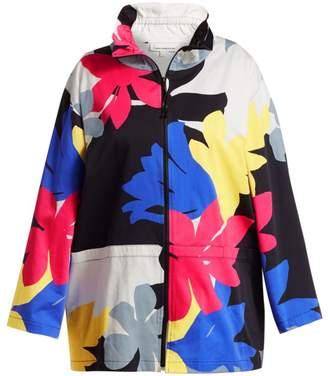 Caroline Rose Floral Zip-Front Jacket