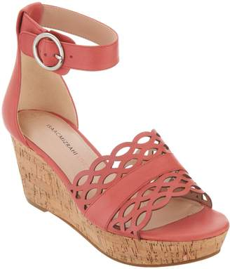 Isaac Mizrahi Live! Leather Wedge Sandals