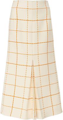 Victoria Beckham Pleated Plaid Wool-Crepe Midi Skirt Size: 6