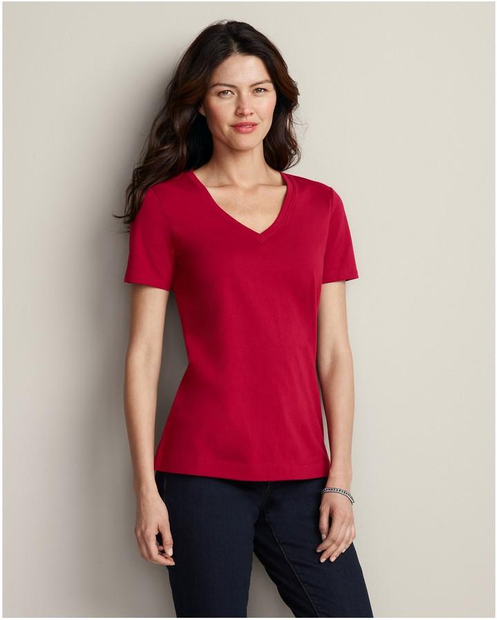 Pima Cotton Jersey Short-Sleeve V-Neck T-Shirt