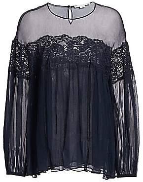 Stella McCartney Women's Chiffon Silk& Lace Babydoll Blouse