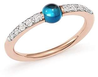 Pomellato M'Ama Non M'Ama Ring with London Blue Topaz and Diamonds in 18K Rose Gold